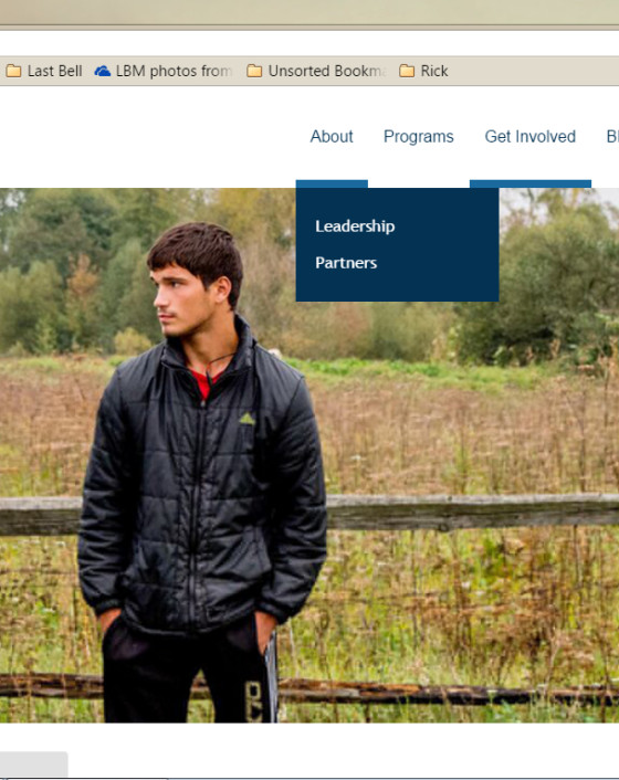 From the Get Involved page, we're hovering over About to see the three link options: About, Leadership, and Partners